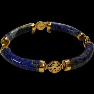 Vintage Lapis Lazuli Tubular Links 14K Chinese Symbol Bracelet