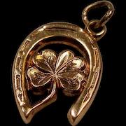 Vintage Horse Shoe Four Leaf Clover 14K Gold Charm