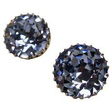 Vintage Huge Icy Blue Austrian Crystals Solitaire Earrings