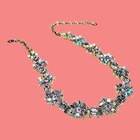 Vintage Lisner Icy Aurora Borealis Rhinestone Flower Choker Necklace