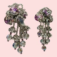 Vintage Lois Ann Lilac Rivoli Faceted Crystals Rhinestones Drippy Earrings