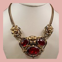 Vintage 1930's Red Faceted Glass Flower Necklace