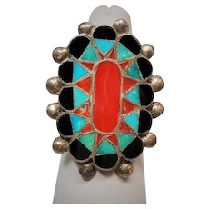 Vintage Native American Gemstone Inlay L. Lucio Sterling Ring