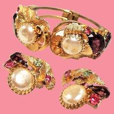 Vintage Big Faux Mabe Pearl Open Back Glass Stone Leaf Clamper Bracelet Earrings Set