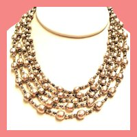 Vintage Miriam Haskell Simulated Baroque Pearl Five Strand Necklace