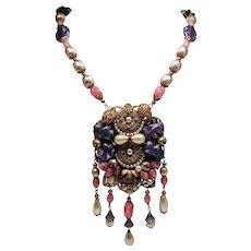 Vintage Miriam Haskell Faux Pearls Art Glass Beads Rhinestones Huge Pendant Long Drop Necklace