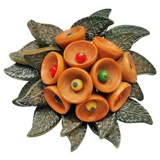 Vintage Miriam Haskell Clustered Wooden Bells Leaves Brooch