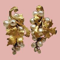 Vintage Miriam Haskell Faux Pearl Cluster Leaves Drop Earrings