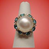 Estate Mabe Pearl Diamond Blue Topaz 10K Gold Ring