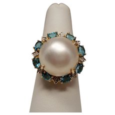 Estate Mabe Pearl Diamond Blue Topaz 10K Gold Ring