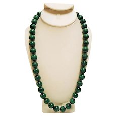 Vintage 1960's - 1970's Chinese Export Large Malachite Bead Matinee Length Necklace