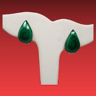 Vintage Pear Tear Shaped Malachite Earrings