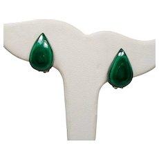 Vintage Pear Tear Shaped Malachite Earrings