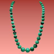 Vintage Large Malachite Graduated Bead Matinee Length Necklace