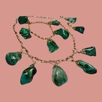 Vintage Eilat Nugget Gold Filled Choker Necklace Bracelet Drop Earrings Parure