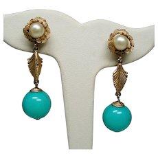 Vintage Marvella Faux Pearl & Turquoise Bead Long Drop Earrings