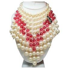 Vintage Marvella Faux Pearl Cranberry Pink Drippy Bead Bib Necklace