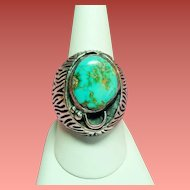 Vintage Native American Turquoise Sterling Silver Mens Hefty Ring