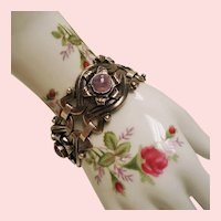 Vintage Mexican Silver Amethyst Cabochon Chunky Bracelet