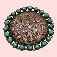 Vintage Mexican Silver Aztec Sun Stone Pendant Brooch Simulated Turquoise