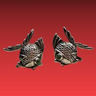 Vintage Mexican Silver Fish Earrings