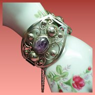 Vintage Mexico Sterling Amethyst Cabochon Stone Huge Hinged Bracelet