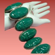 Vintage Mexican Sterling Dyed Green Onyx Huge Oval Mask Wide Bracelet