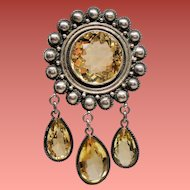 Vintage Mexican Sterling Huge Citrine Stone Brooch with Droplets
