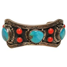 Vintage Mexican Sterling Turquoise Coral Cuff Bracelet