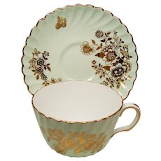Vintage Mintons Mint Green Gold Floral  & Berry Teacup Cup & Saucer