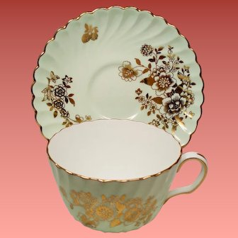 Vintage Minton Mint Green Gold Floral  & Berry Teacup Cup & Saucer