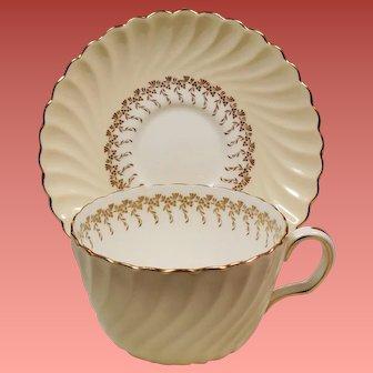 Vintage Minton Flesh and Ivory Gold Inner Design Teacup Cup & Saucer