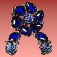 Vintage Cobalt Blue Cabochon Molded Iridescent Glass Roses Brooch Earrings Set