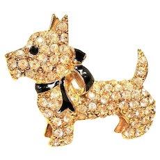 Vintage Monet Rhinestone Scottie Dog Pin