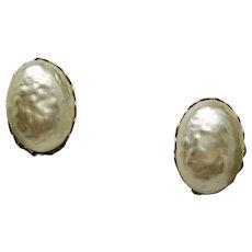 Vintage Miriam Haskell Faux Baroque Pearl Earrings