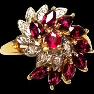 Vintage 14K Ruby Diamond Cluster Ring