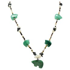 Vintage Native American Carved Aventurine Bear Heishi Bead Long Fetish Necklace