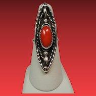 Vintage Native American Coral Cabochon Navette Sterling Ring