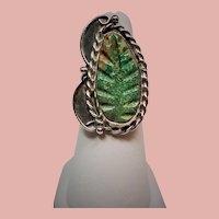 Vintage Native American Carved Turquoise Leaf Sterling Ring