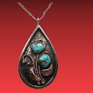 Vintage Native American Navajo Dee Morris Turquoise Sterling Pendant Necklace