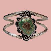 Vintage Native American Green Turquoise Split Band Cuff Bracelet