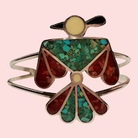 Vintage Native American Turquoise Coral Inlay Thunderbird Sterling Cuff Bracelet