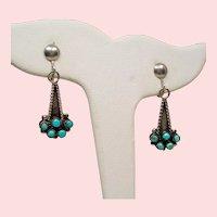 Vintage Native American Turquoise Sterling Screw Back Drop Earrings