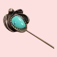 Vintage Native American Turquoise Cabochon Sterling Stick Pin
