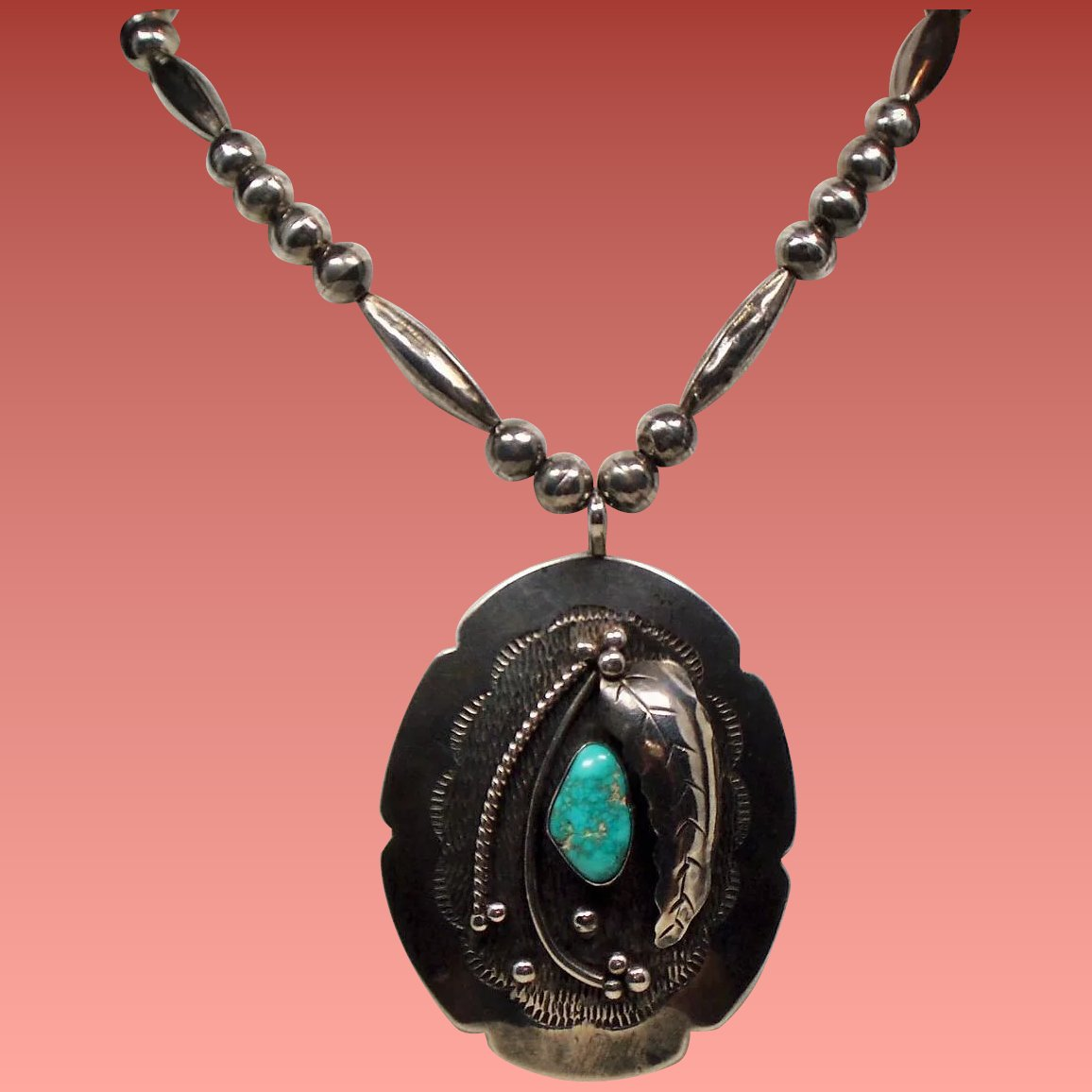 Vintage Native American Large Turquoise Pendant Long Bench
