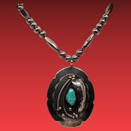 Vintage Native American Large Turquoise Pendant Long Bench Bead Sterling Necklace
