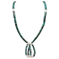 Vintage Native American Turquoise Long Jacla Necklace with Squaw Wrap