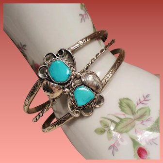 Vintage Native American Navajo Turquoise Sterling Cuff Bracelet