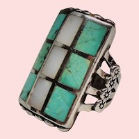 Vintage Native American Turquoise Inlay Checkerboard Chunky Sterling Ring