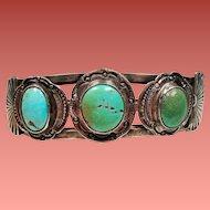 Vintage Native American Navajo Turquoise Sterling Cuff Bracelet